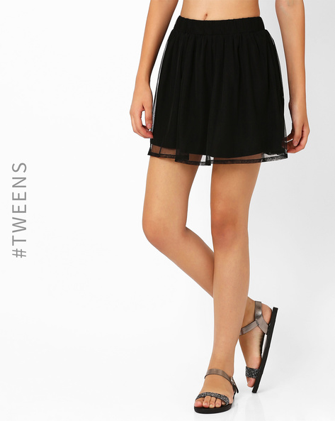 Mini Skirt With Mesh Layer By AJIO ( Black )