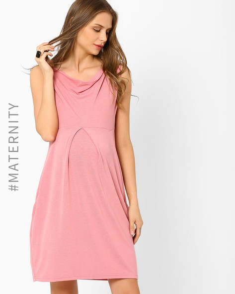 Cowl-Neck Maternity Dress By AJIO ( Pink )