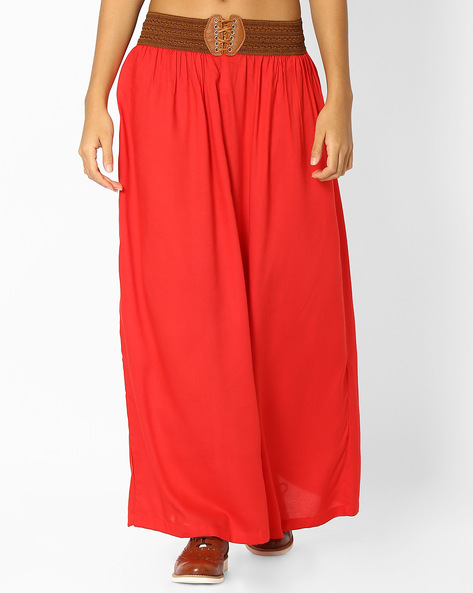 Palazzos With Elasticated Waist By FUSION ( Red )
