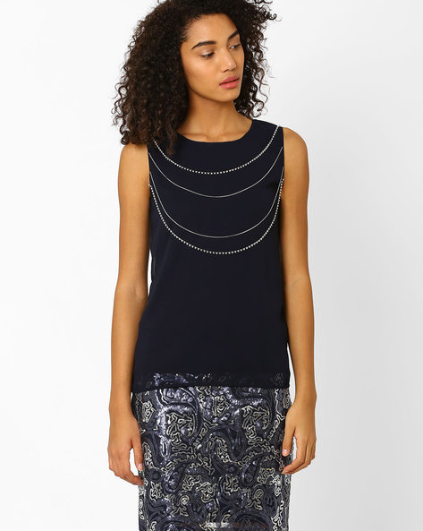 Sleeveless Top With Embellishments By Lotus Threads ( Navy )