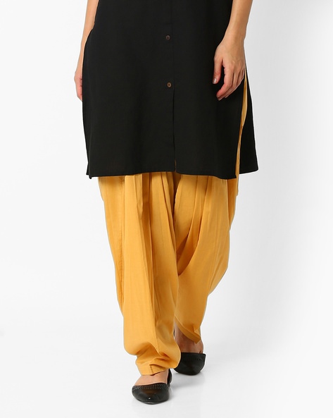 Cotton Patiala Pants By Stylenmart ( Yellow )