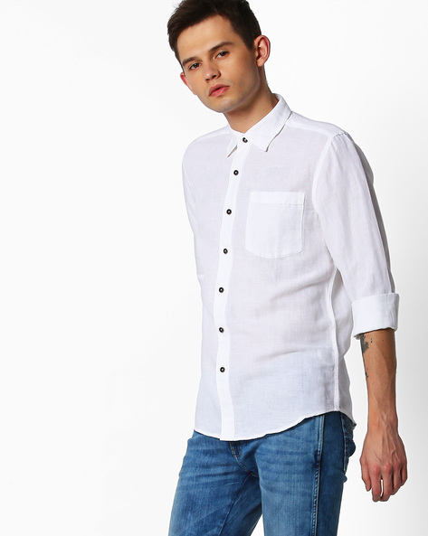 Slim Fit Shirt With Patch Pocket By Lee ( White )