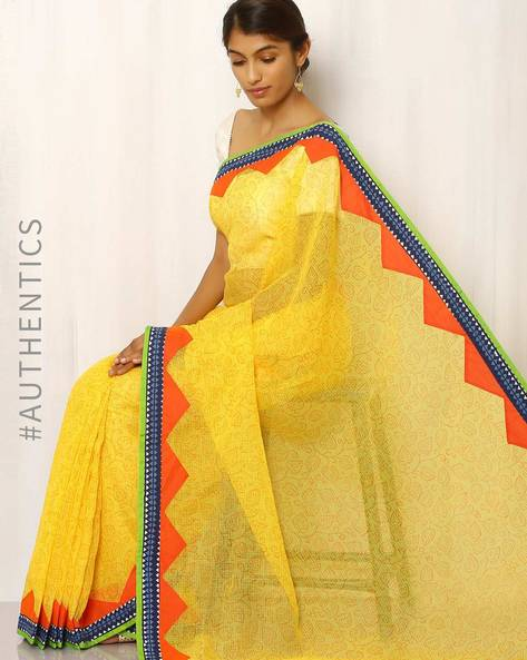Hand Block Print Kota Saree With Patchwork By Indie Picks ( Yellow )