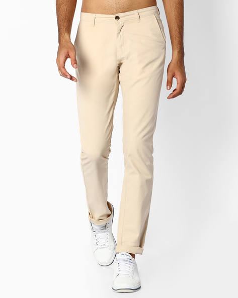 Flat-Front Dobby Chinos By NETPLAY ( Stone )