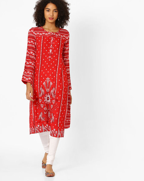 Printed Straight Kurta By Global Desi ( Red )