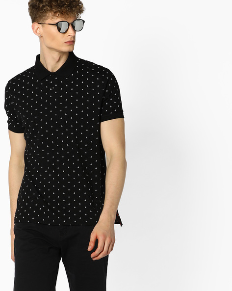 All-Over Print Polo T-shirt By AJIO ( Black )