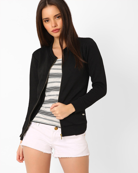 Zip-Front Jacquard Jacket By TAANZ WOMENS ( Assorted )
