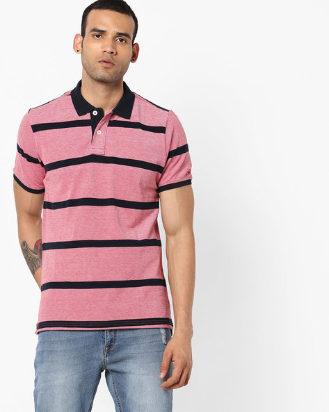 Slim Fit Striped Polo T-shirt By BASICS ( Red ) - 460179385003