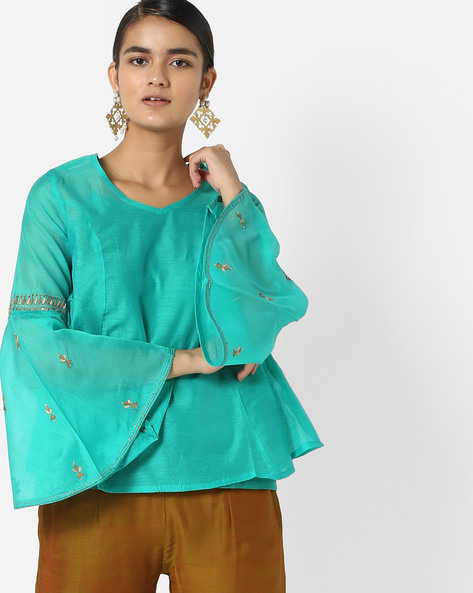 Embroidered Tunic With Bell Sleeves By AJIO ( Teal )