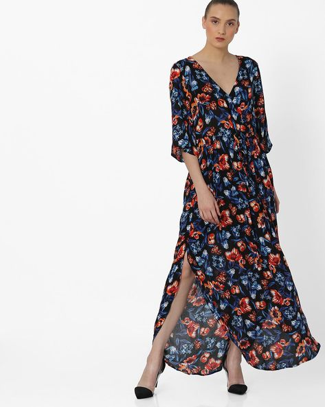 Floral Print A-line Dress With High Slits By Rena Love ( Multi )