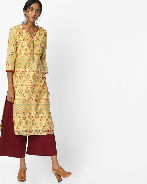 Printed Chanderi Kurta With Palazzos By Melange By Lifestyle ( Yellow )