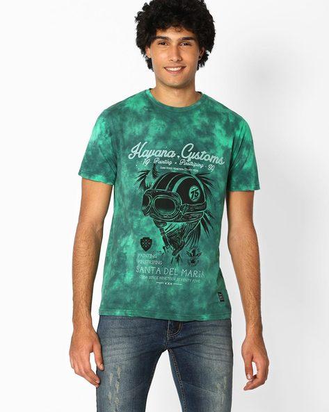 Printed Crew-Neck Slim T-shirt By DNM X ( Green )