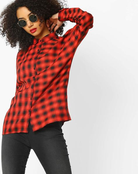 Checked Shirt With Back Slit By Rena Love ( Red )