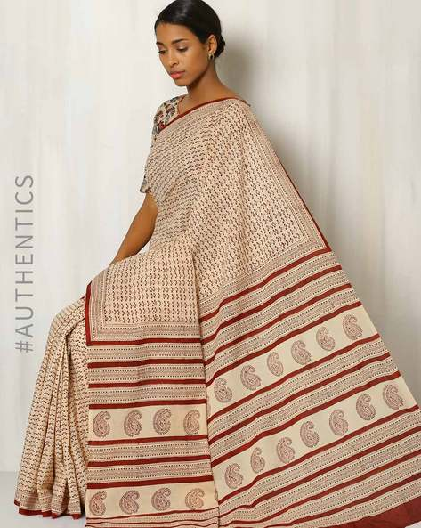 Bagru Print Cotton Saree By Indie Picks ( Multi )