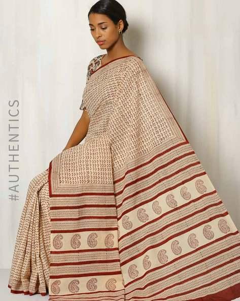 Bagru Print Cotton Saree By Indie Picks ( Multi )