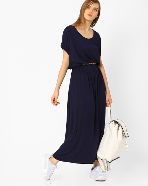 Belted Maxi Dress With Drop-Shoulders By CHEMISTRY ( Blue )