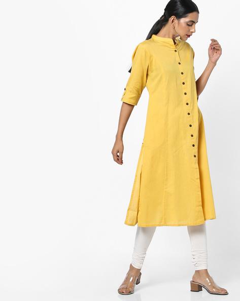 Straight Kurta With Mandarin Collar By Shree ( Yellow )