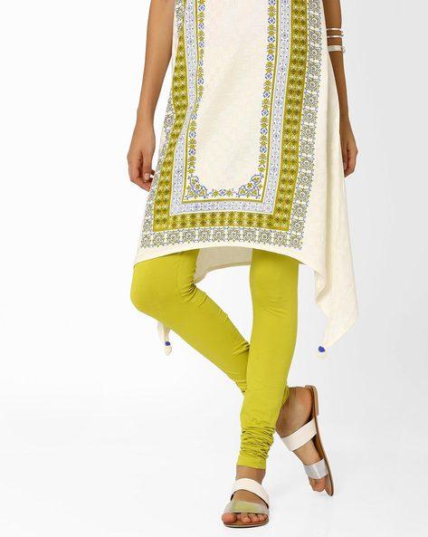 Churidar Leggings With Elasticated Waistband By AJIO ( Green )