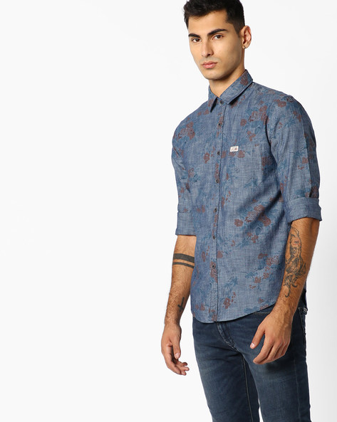 Cotton Floral Print Shirt By US POLO ( Indigo )