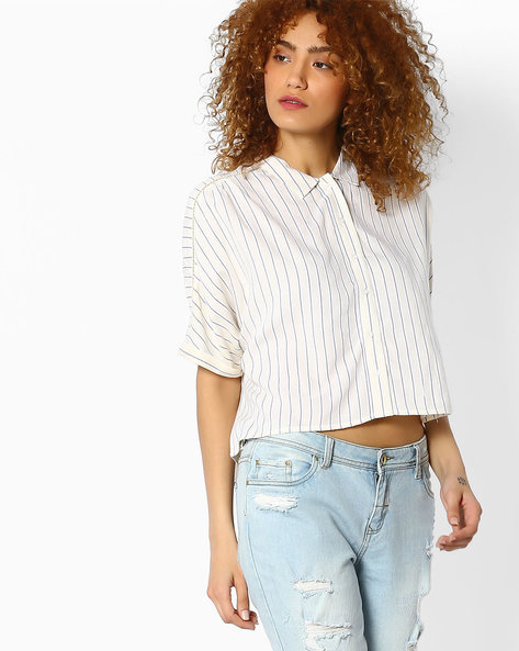 Striped Crop Top By Ginger By Lifestyle ( Offwhite )