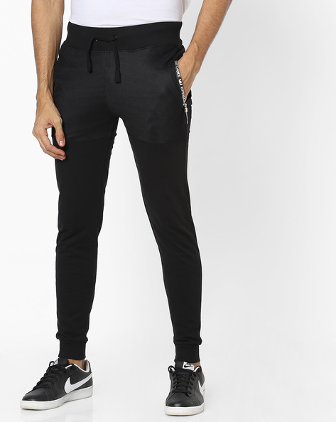 Panelled Joggers With Drawstring Fastening By Campus Sutra ( Black ) - 460161985002