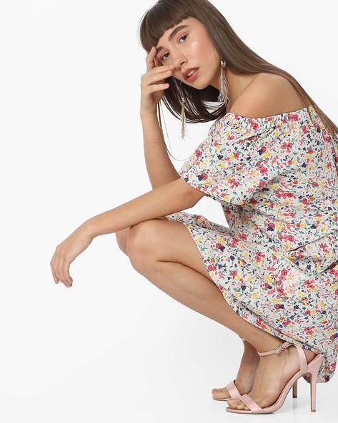 Floral Print Off-Shoulder Popover Dress By RIO ( White )