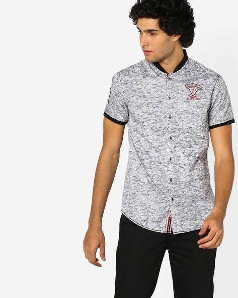 Printed Slim Fit Shirt With Band Collar By The Indian Garage Co ( White )