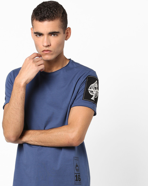 Crew-Neck T-shirt With Raw Edges By AJIO ( Blue )