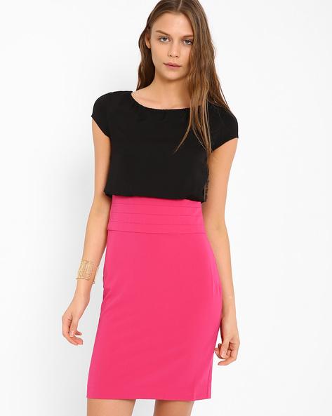 Colourblock Blouson Dress By AJIO ( Fuchsia )