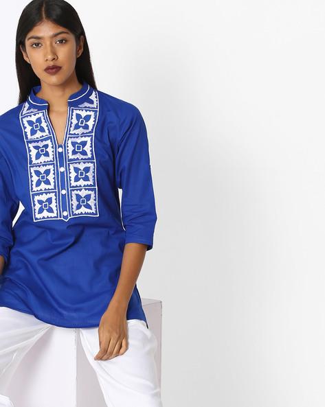 Straight Kurti With Embroidered Yoke By KIRA ( Blue )