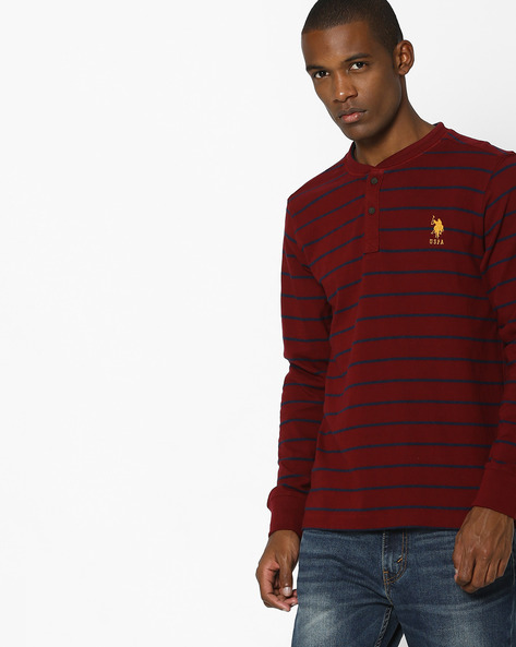 Striped Henley T-shirt With Signature Branding By US POLO ( Multi )