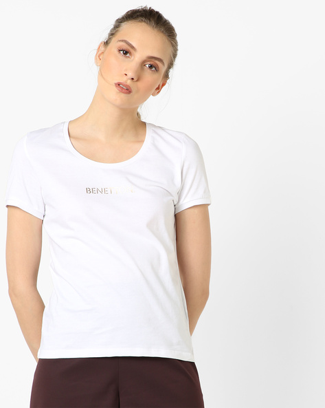 Crew-Neck T-shirt With Brand Print By UNITED COLORS OF BENETTON ( White )