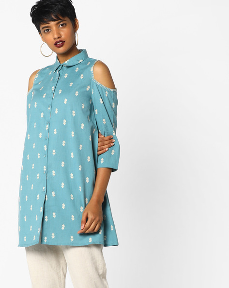 Shirt Tunic With Cold-Shoulder Sleeves By AJIO ( Blue )