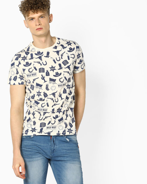 All-Over Print Crew Neck T-Shirt By AJIO ( White )