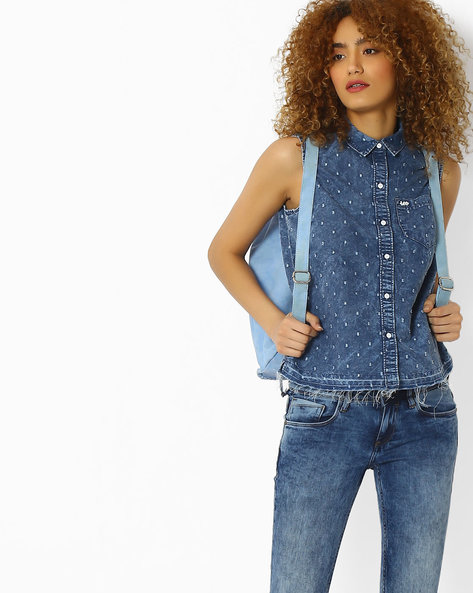 Speckle Patterned Washed Denim Top By Lee ( Navyblue )