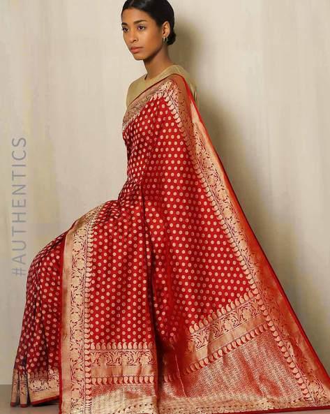 Banarasi Pure Silk Katan Butidar Saree By Indie Picks ( Maroon )
