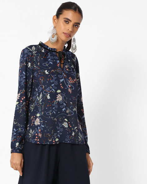 Floral Print Top With Neck Tie-Up By Vero Moda ( Blue )