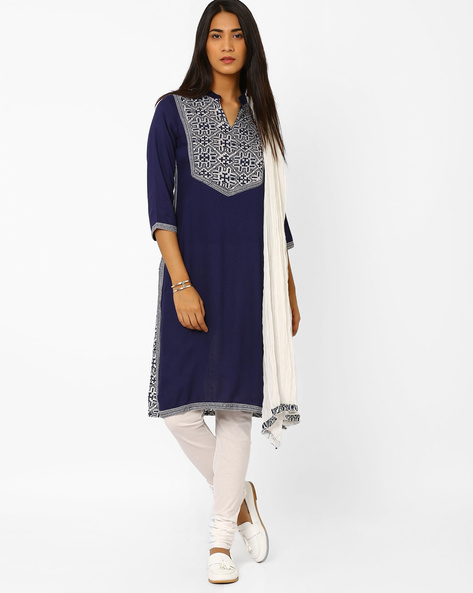 Printed Churidar Kurta With Dupatta By AVAASA SET ( Darkblue )