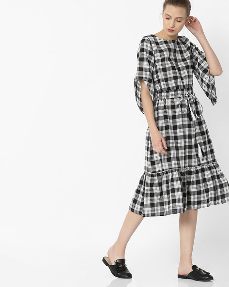 Checked Dress With Funnel Sleeves By Rena Love ( Multi )