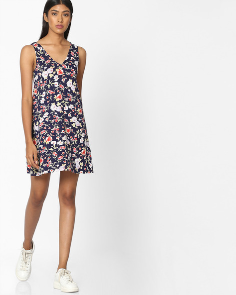 Floral Print V-neck A-line Dress By Pink Woman ( Multi )