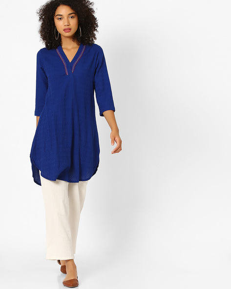 High-Low Kurta With Contrast Stitch By Global Desi ( Blue )