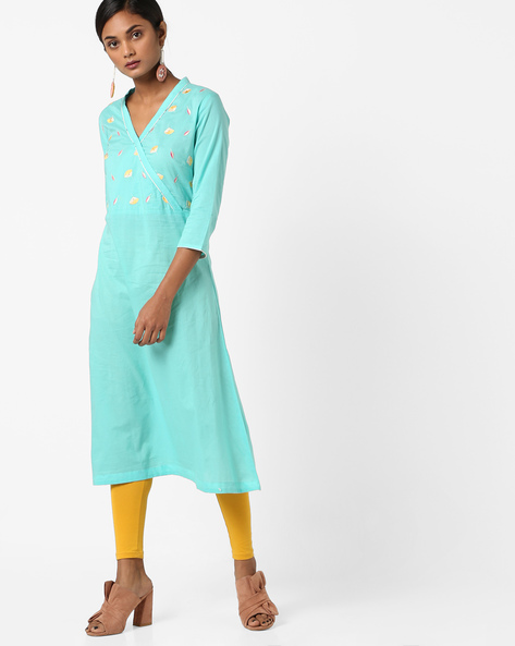 Embroidered A-line Kurta With Overlap Neck By AJIO ( Aqua )