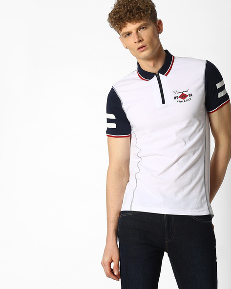 Polo T-shirt With Zip Placket By Teamspirit ( White )