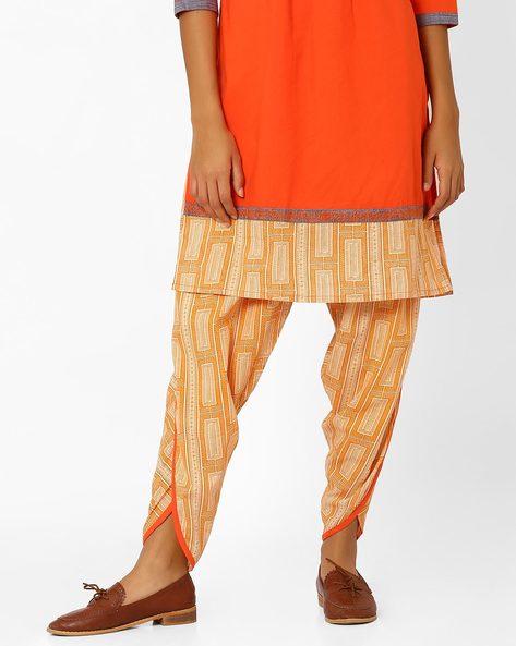 Printed Dhoti Pants By AJIO ( Mustard )