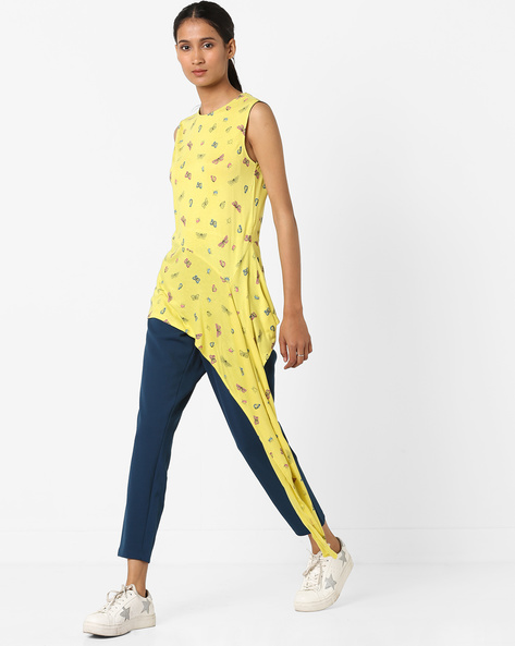 Printed Tunic With Extended Hem By AJIO ( Yellow )
