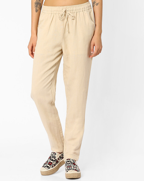 Tapered Track Pants By AJIO ( Beige )