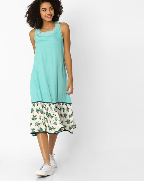 A-line Dress With Embroidery By AJIO ( Teal )