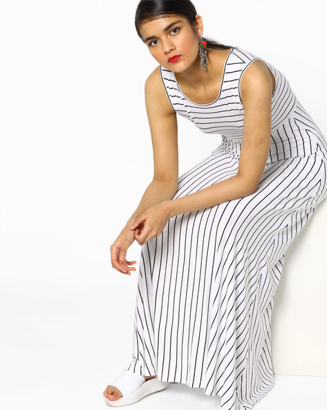 Striped Bodycon Maxi Dress By Project Eve WW Athleisure ( White )