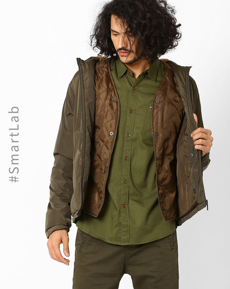 Regulat Fit Hooded Jacket By AJIO ( Olive )