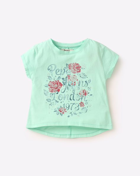 Printed Cotton T-shirt By PEPE ( Green )